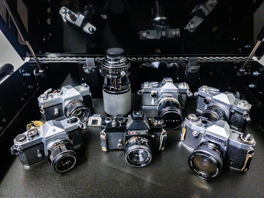 Photo of M42 mount film cameras. Russell Viers