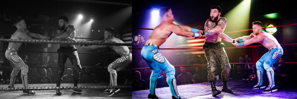Photo comparing Sito's and Russell's pro wrestling photos