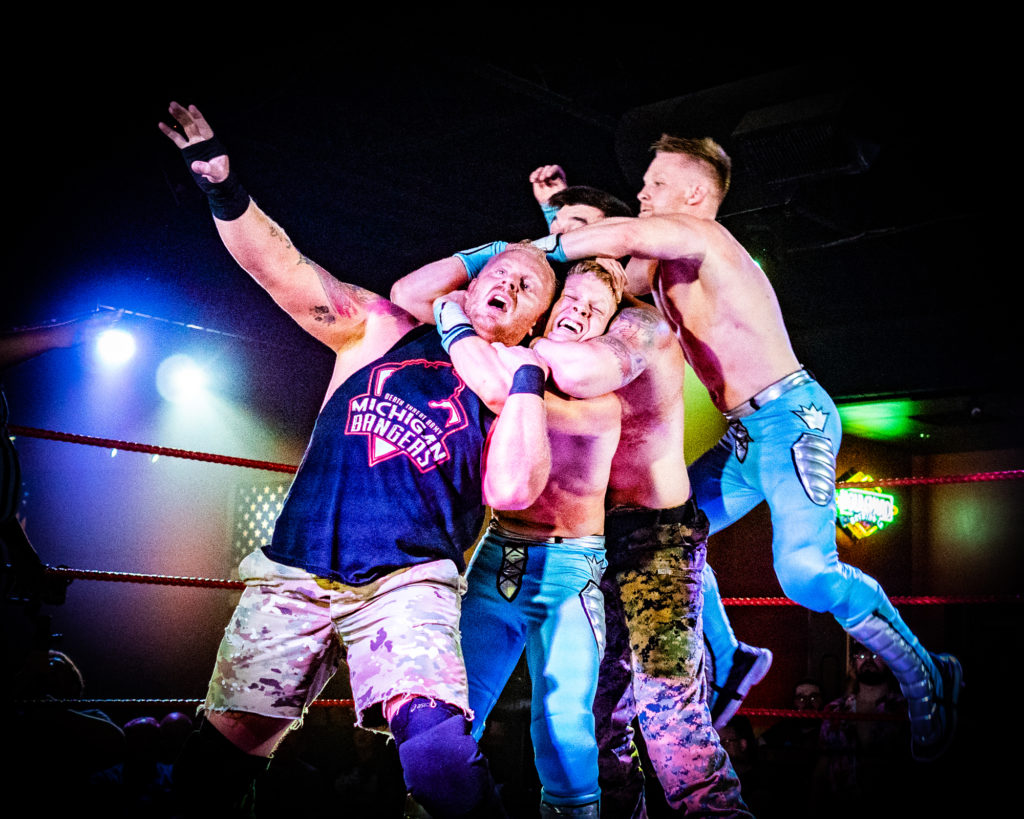pro wrestling photos of the Riegel Twins by Russell Viers